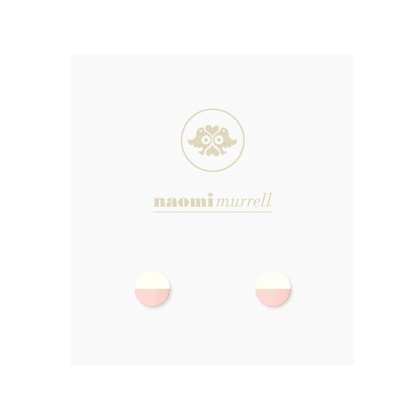 Moon Studs in Rose and Vanilla White by Naomi Murrell