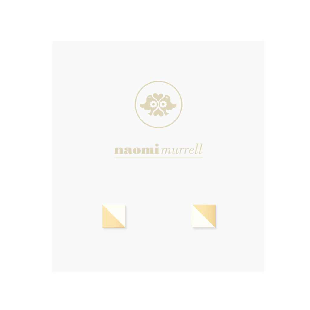 Square Splice Studs in Golden Brass and Vanilla White by Naomi Murrell