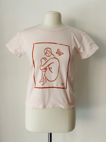 Art School T-Shirt, Baby Peach Organic Cotton, Front View, by Naomi Murrell