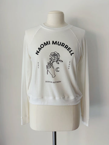 New Romantic Sweat, White Organic Cotton French Terry, Front View, by Naomi Murrell