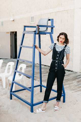 Overland Jumpsuit in Indigo, Organic Denim, Worn View 1, by Naomi Murrell