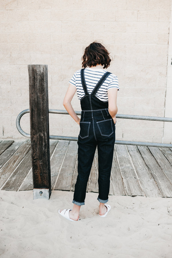 Overland Jumpsuit in Indigo, Organic Denim, Worn View 4, by Naomi Murrell