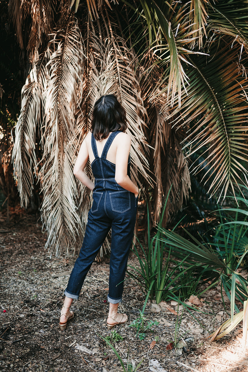 Overland Jumpsuit in Indigo, Organic Denim, Worn View 6, by Naomi Murrell