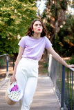 Rosewater T-Shirt, Lavender Organic Cotton, Worn View 2, by Naomi Murrell
