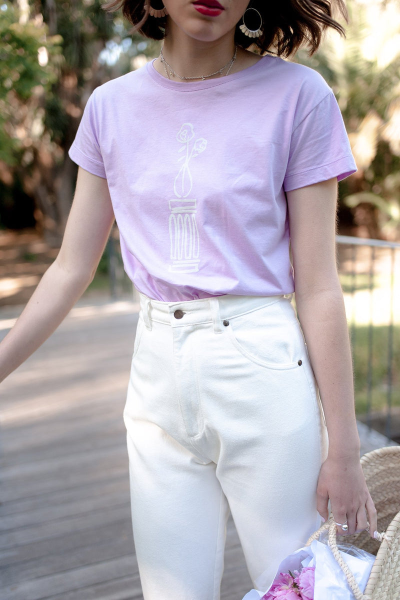 Rosewater T-Shirt, Lavender Organic Cotton, Worn View 3, by Naomi Murrell