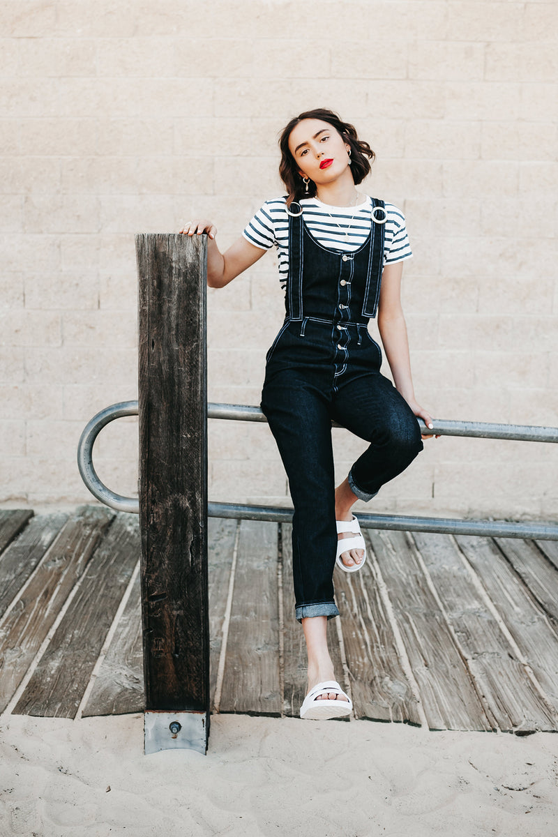 Sailor T-Shirt, White and Indigo Striped Organic Cotton, Worn View 1, by Naomi Murrell