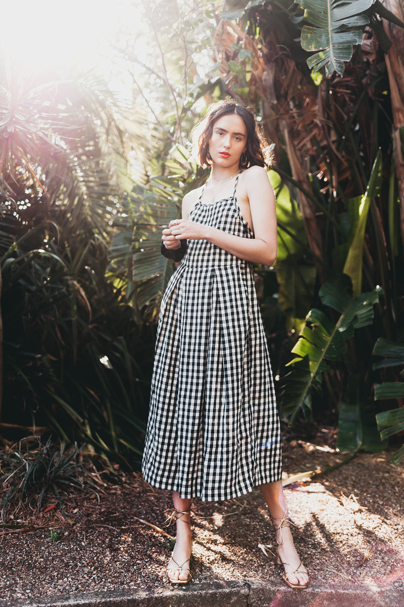 Senorita Dress in Black & White Gingham, Handloom Organic Cotton, Worn View 2, by Naomi Murrell