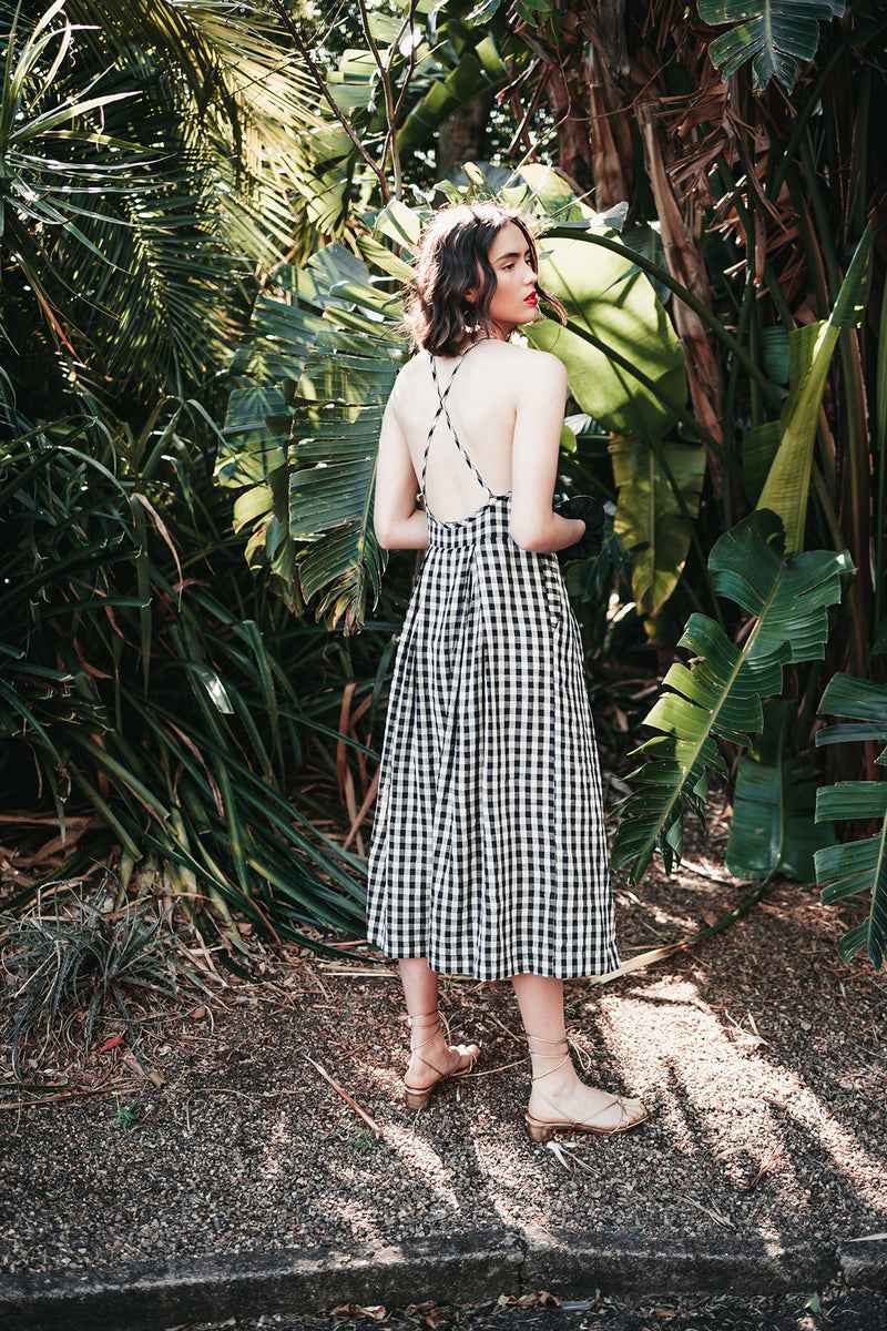 Senorita Dress in Black & White Gingham, Handloom Organic Cotton, Worn View 3, by Naomi Murrell