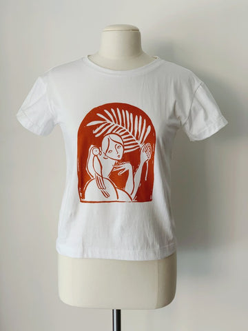 Paradiso T-Shirt, White Organic Cotton, Front View, by Naomi Murrell