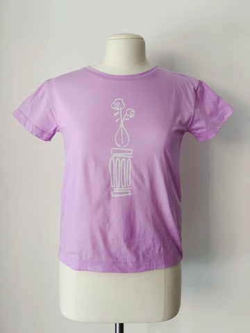 Rosewater T-Shirt, Lavender Organic Cotton, Front View, by Naomi Murrell