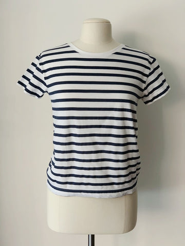 Sailor T-Shirt, White and Indigo Striped Organic Cotton, Front View, by Naomi Murrell