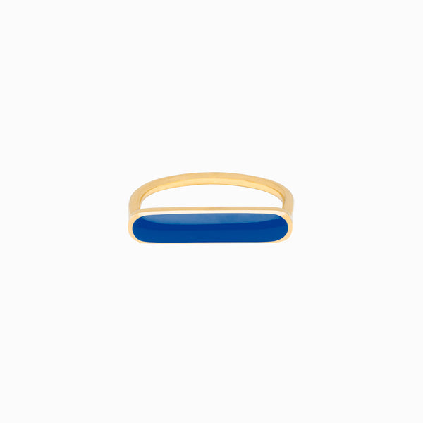 Stacker Ring, Navy, Golden Brass