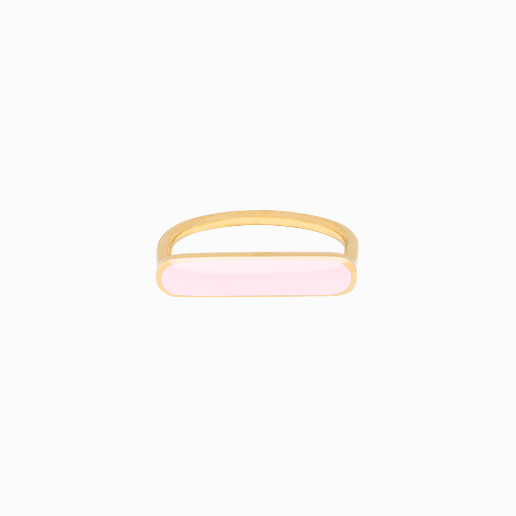 Stacker Ring, Powder Pink, Golden Brass