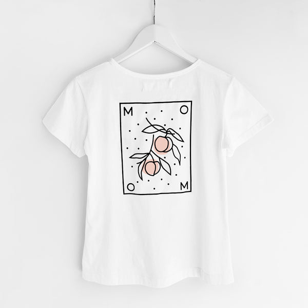 Momo (Peaches) T-Shirt, White Organic Cotton, Back View, by Naomi Murrell