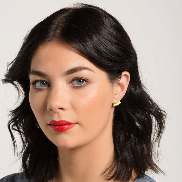 Arc Ear Jacket Stud (Shown in Gold) by Naomi Murrell, worn