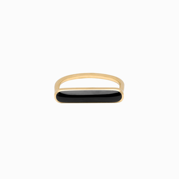 Stacker Ring in Golden Brass and Peppercorn by Naomi Murrell
