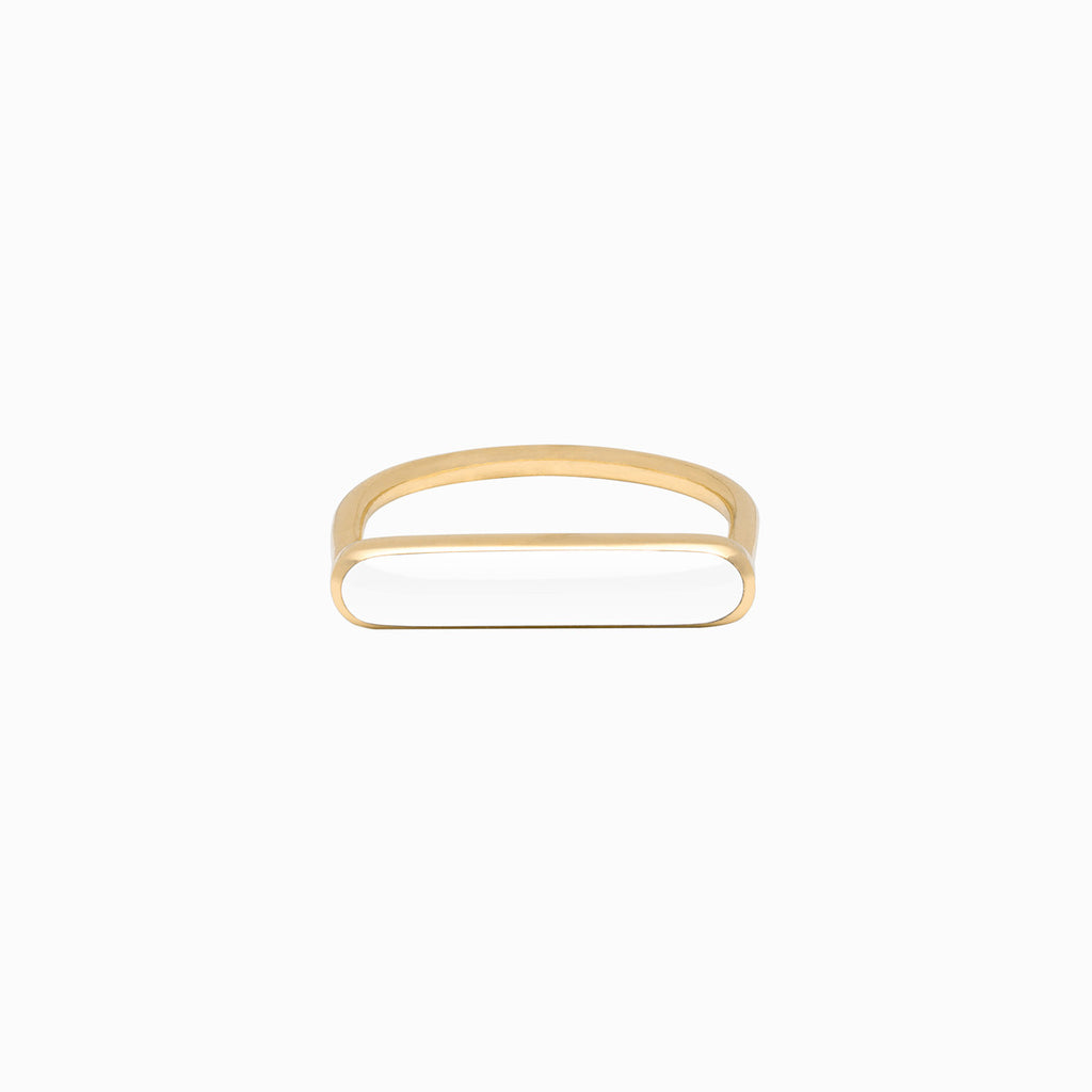 Stacker Ring in Golden Brass and Vanilla by Naomi Murrell