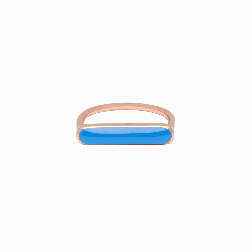 STACKER RING<br/>French Blue<br/>Rose Gold Plate</br>