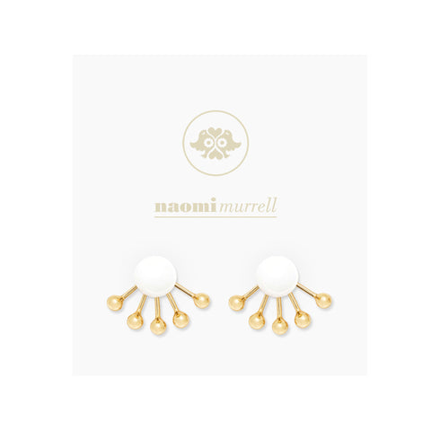 Pinball Ear Jackets in Golden Brass and Vanilla (White) by Naomi Murrell, Package