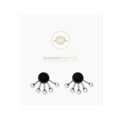 Pinball Ear Jackets in Sterling Silver and Peppercorn Black by Naomi Murrell, Package