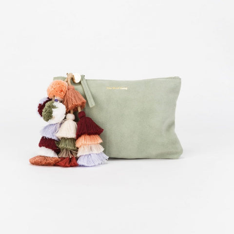 Bedouin Clutch in Seafoam Suede by The Wolf Gang