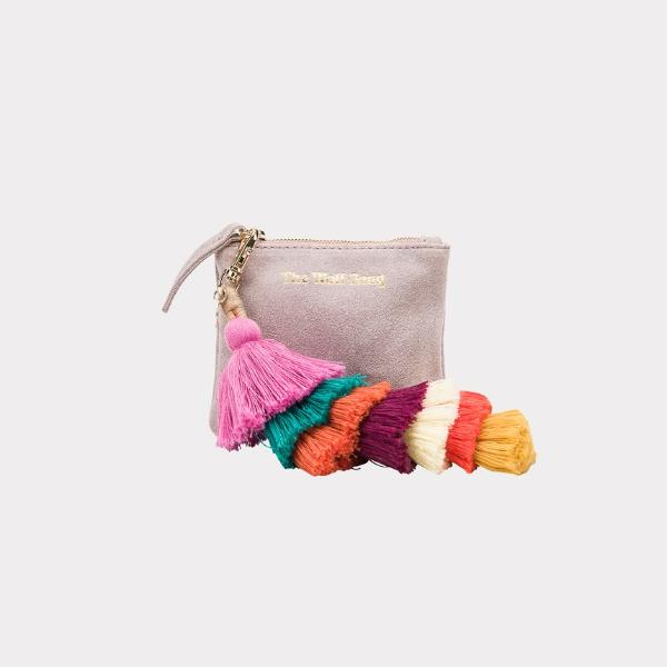 Inca Keychain Coin Purse in Blush Suede by The Wolf Gang