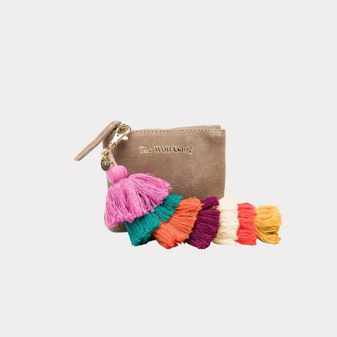 Inca Keychain Coin Purse in Elephant Suede by The Wolf Gang