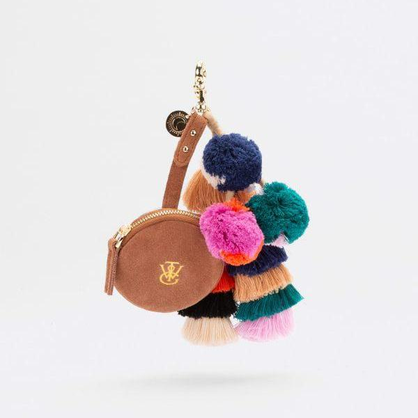 Sahara Key Chain Coin Purse in Terracotta Suede by The Wolf Gang