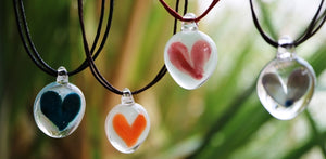 A perfect gift of glass love heart pendant handmade in New Zealand