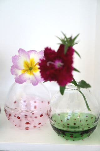Two Tones Bud Vase with Red Polka Dots