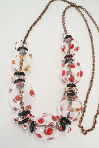 Bubble Neckpiece - Red Polka dots