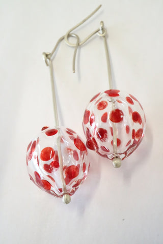 Hollow Bead Earrings - Red Polka Dots