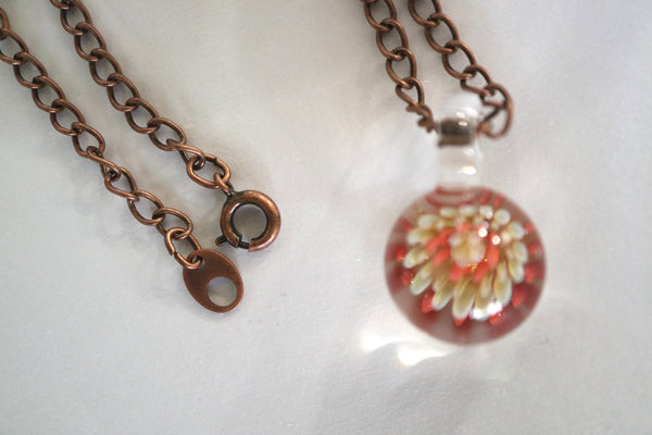 Flower Pendant - Silver/Coral