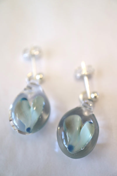 Heart in Glass Studs