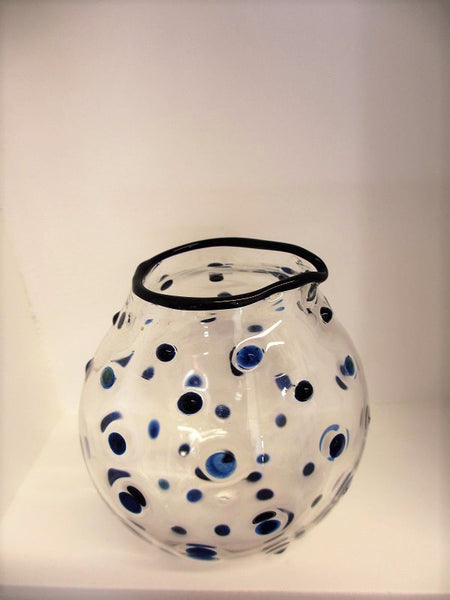 Blue Polka Dot Milk Jug