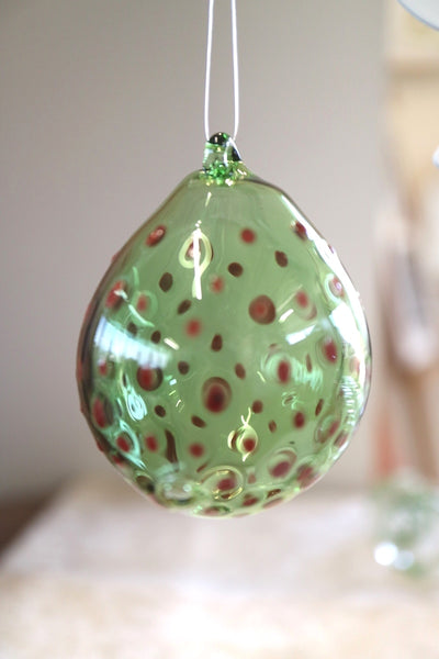 Red Polka Dots on Green Bauble