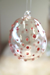 Red Polka Dot on Clear Bauble