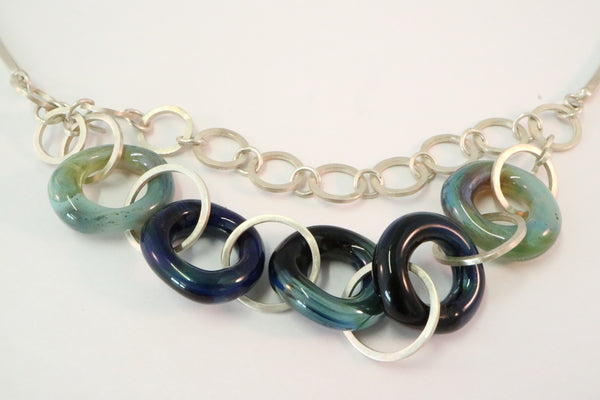 Hand Crafted Sterling Silver Chain with Glass Rings