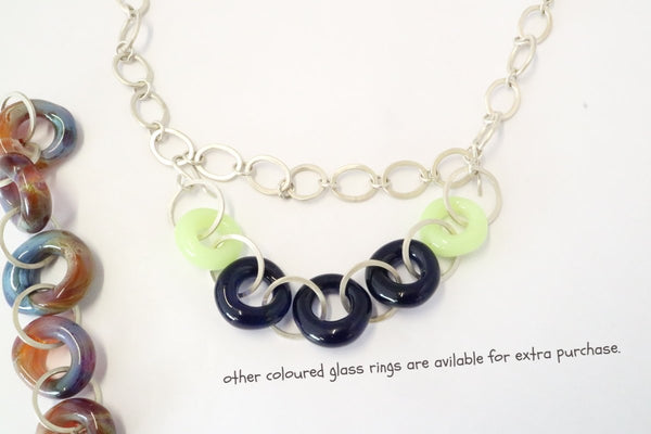 Hand Crafted Sterling Silver Choker Type Chain with Glass Rings