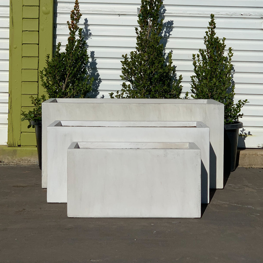 Fiber Stone Trough Pot White