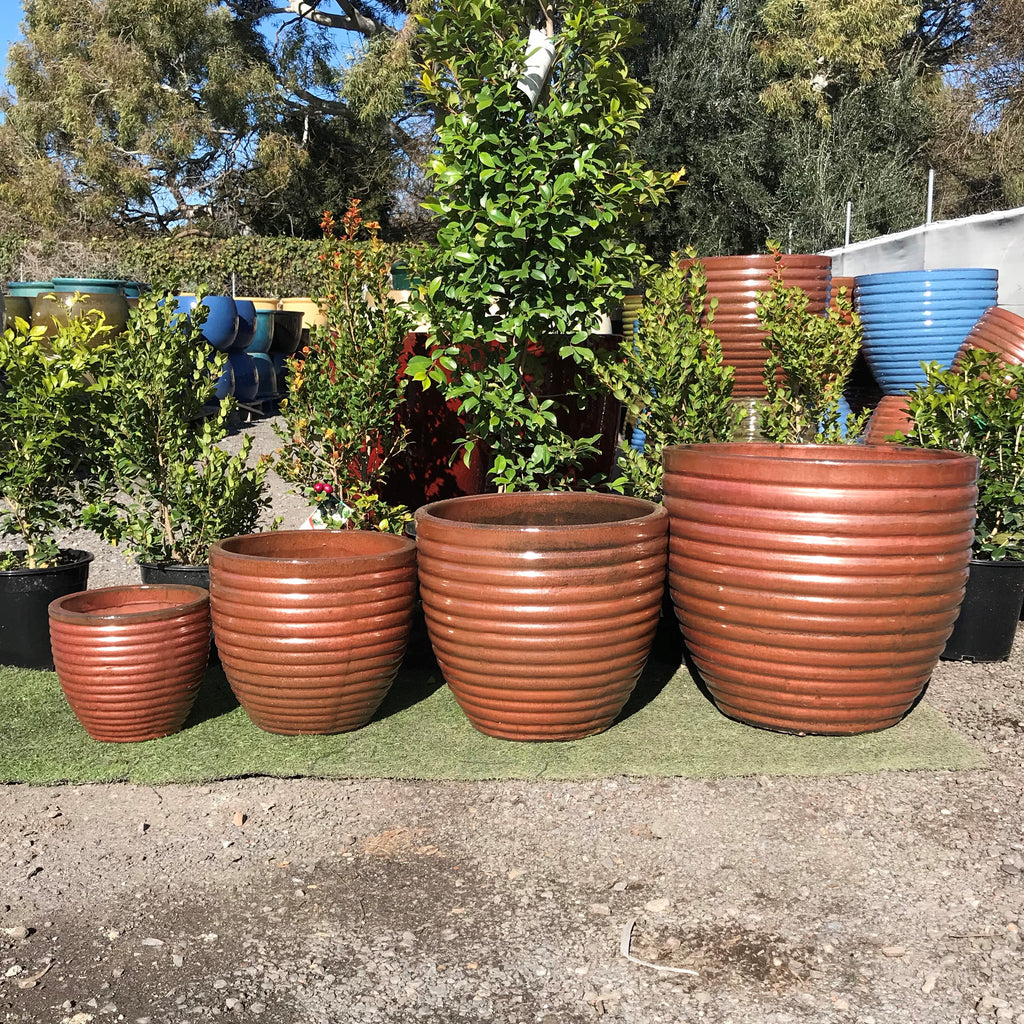 Glazed Cocoon Pot Iron Rust