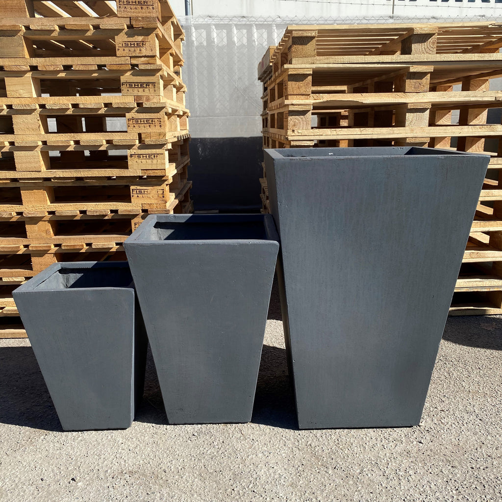 Square Entrance Taper Pot Charcoal