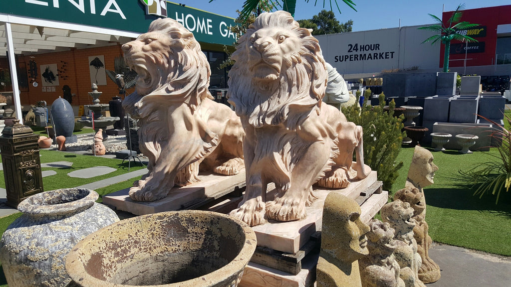 Marble Pink Sitting Lion Statue(pair)