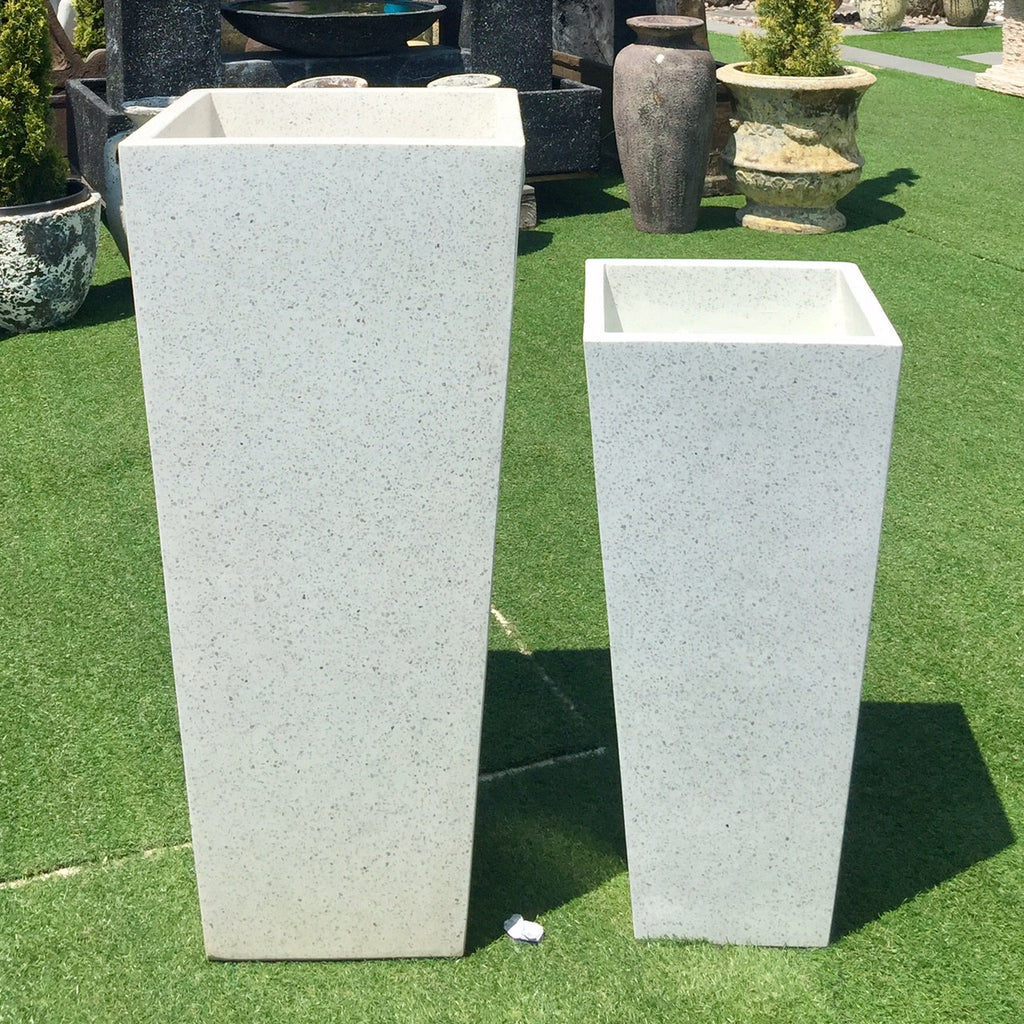 Terrazzo Entrance Square Taper Planter White