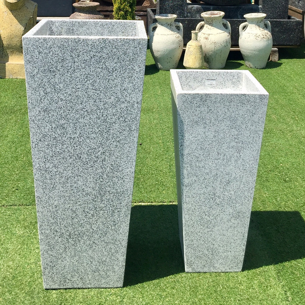 Terrazzo Entrance Square Taper Planter Grey