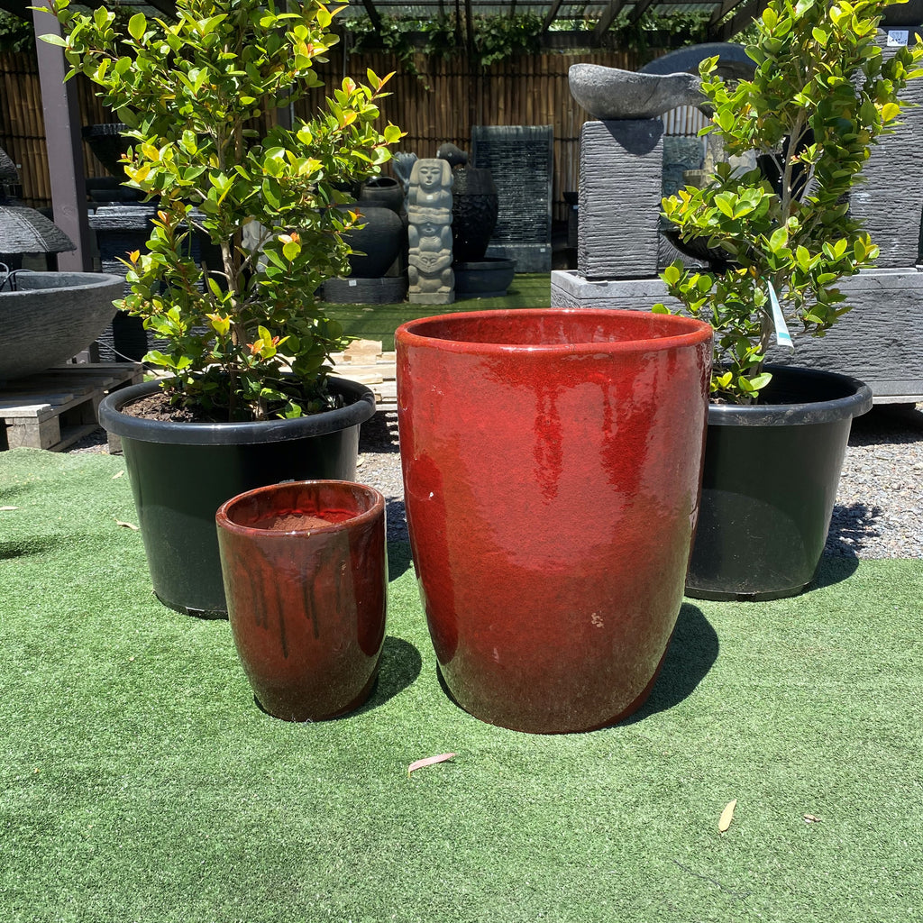Glazed U Planter Pot Red Black