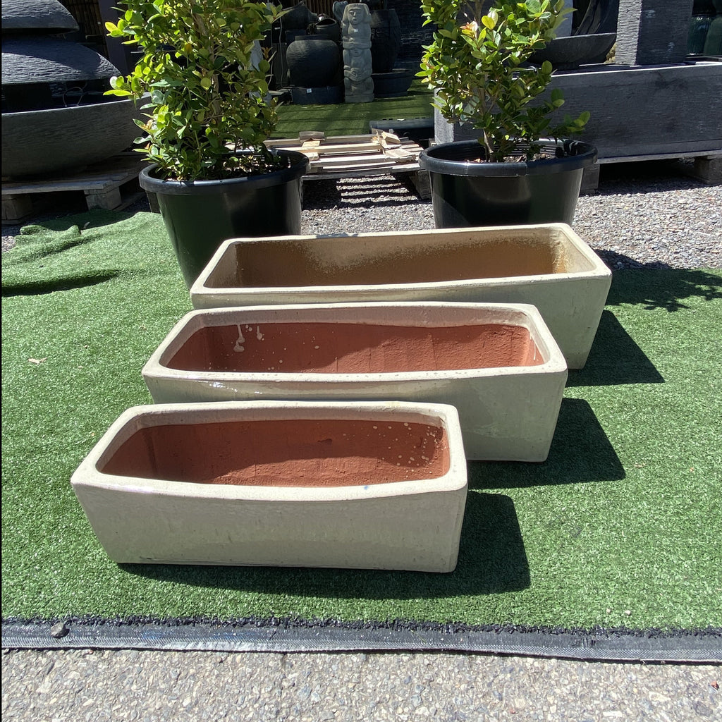 Glazed Rectangle Planter Cream