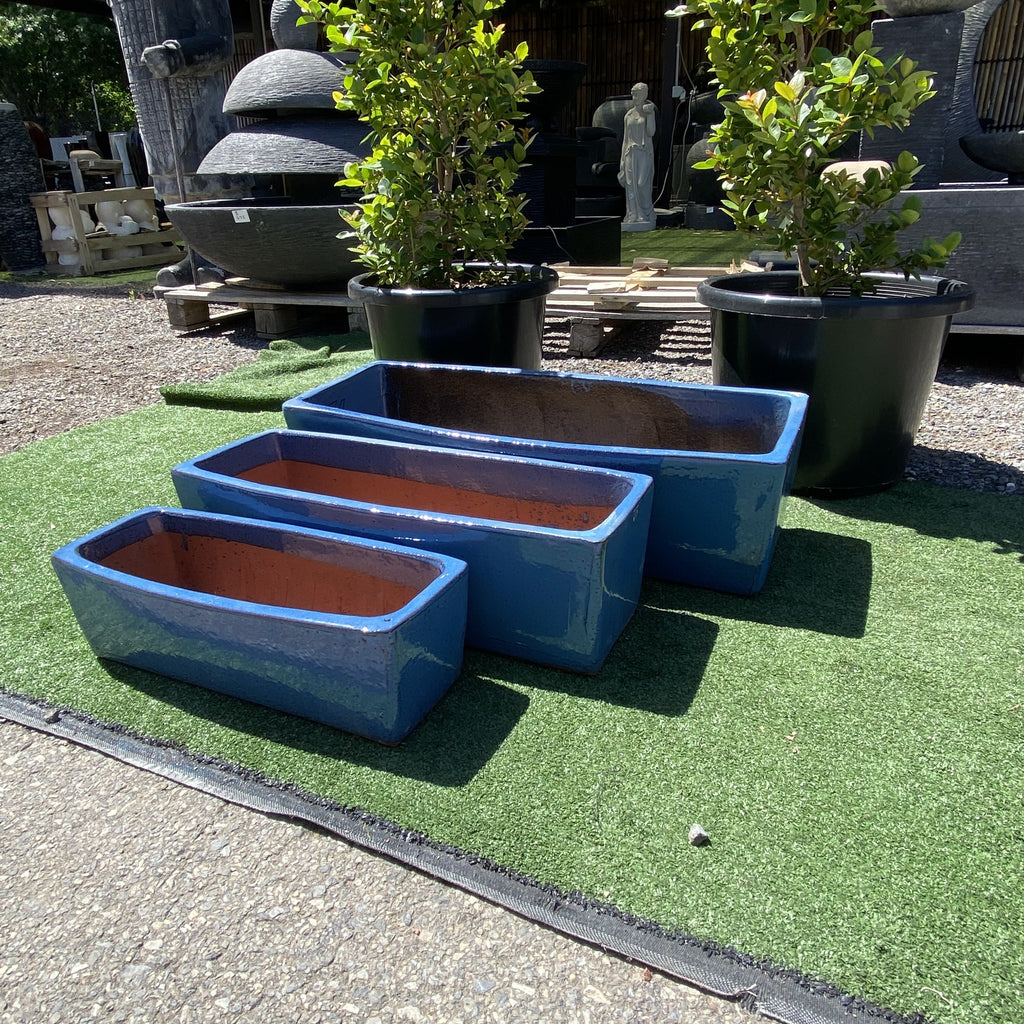 Glazed Rectangle Planter Blue