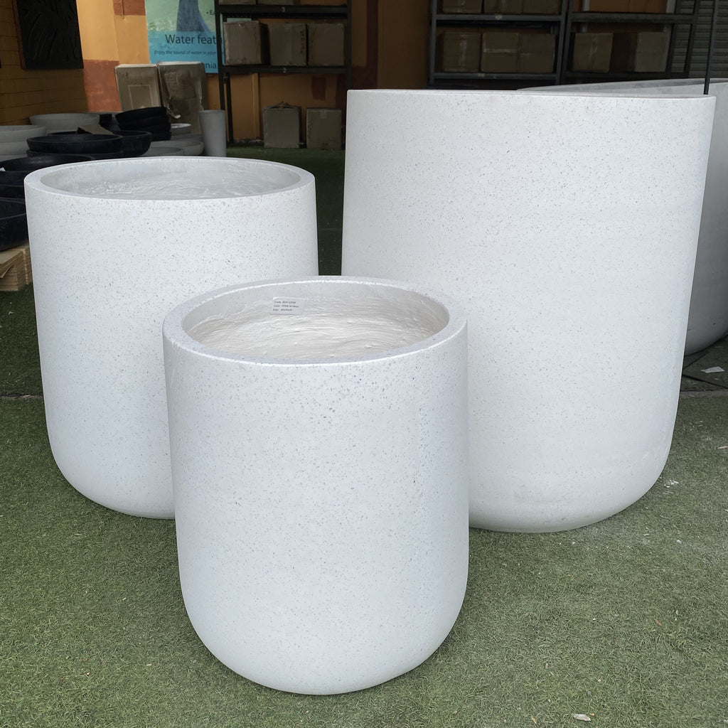 GRC Taper Top Cement Pot White Terrazzo