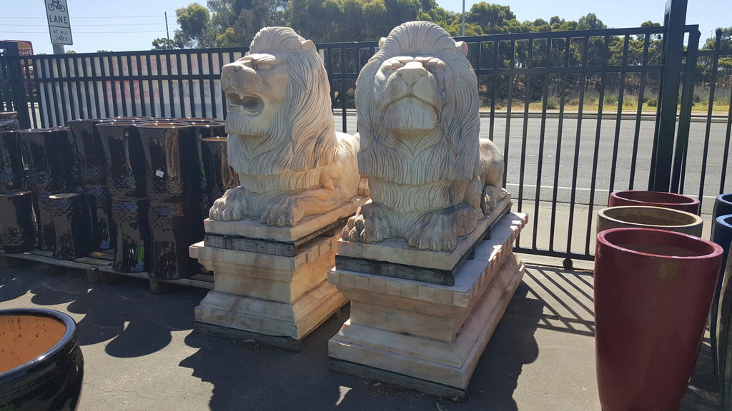 Marble Coaching Lion Statue(pair)